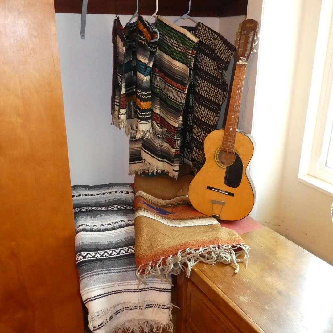 Lot # 8 -  Acoustic Guitar, Authentic Peruvian Vests & Birds In Flight Wool Blanket (main image)
