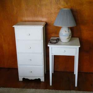 # 9 - Small Distressed Dresser, Side Table, And A Table Lamp