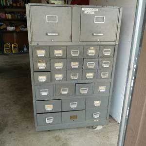 Lot # 209 - Old Metal File Box On Casters With Some Tools & Hardware