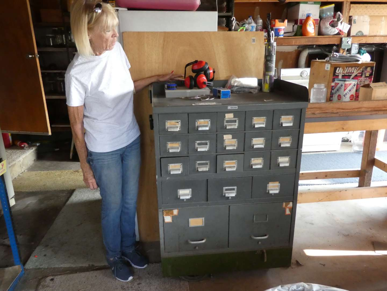 Lot # 212 - Vintage Metal File Cabinet Filled w/ Misc Hardware ( On Castors) (main image)