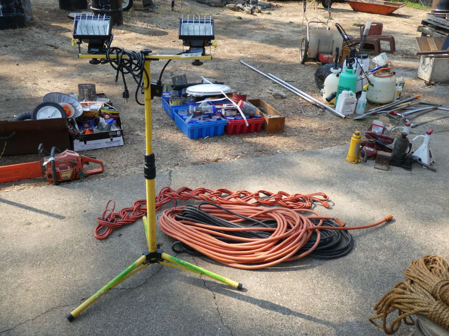 Lot # 216 - Dual Head Flood Light With Stand & Three Extension Cords (main image)