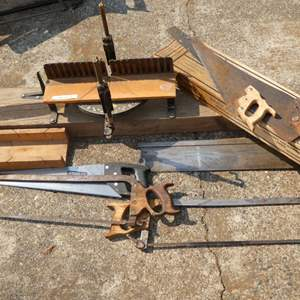 Lot # 219 - Hand Saws &  A Stanley Mitre Box Carpentry Tool