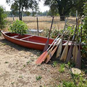 Lot # 223 - 17' Canoe With 9 Paddles