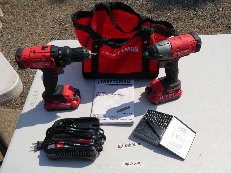 Lot # 229 - Cordless Craftsman Screw Gun And Drill Set (main image)
