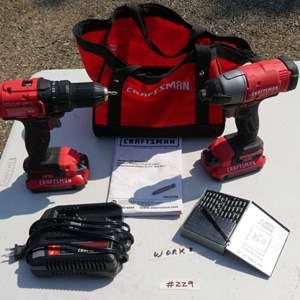 Lot # 229 - Cordless Craftsman Screw Gun And Drill Set