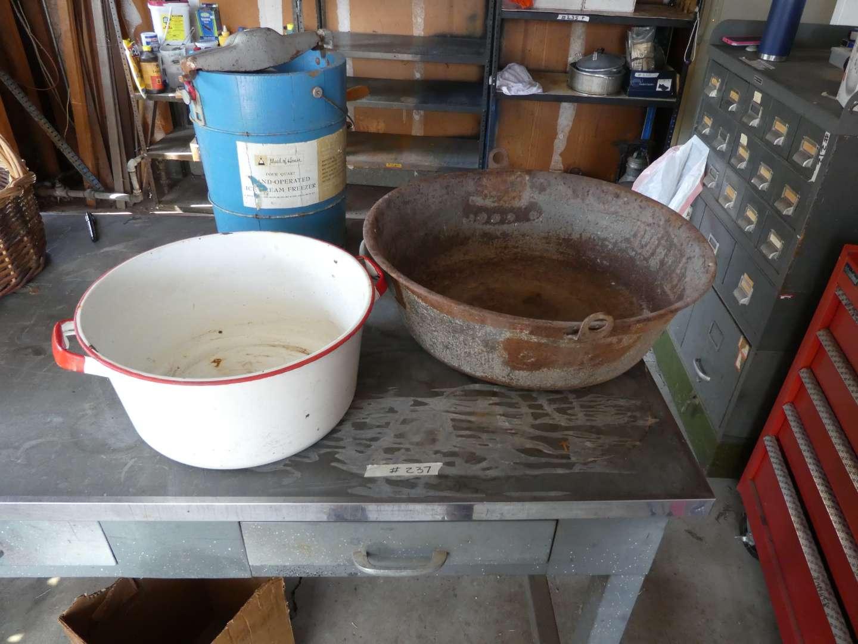 Lot # 237 - Old Ice-Cream Freezer, Old Enamel Pot, And Large Metal Wash Basin (main image)