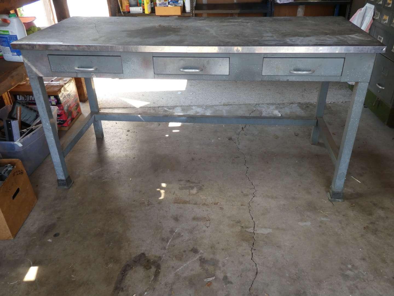 Lot # 240 - Three Drawer Work Table (main image)