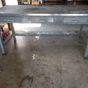 Lot # 240 - Three Drawer Work Table