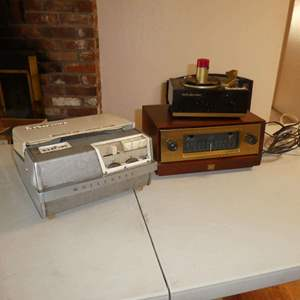 Lot # 26 -  Vintage Wollensak Recorder, Fisher Radio, And A Small RCA Victor Record Player