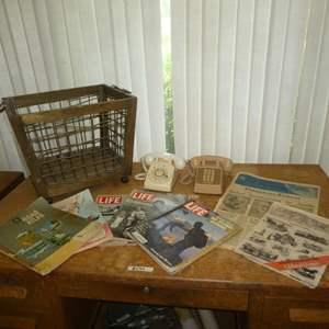 Lot # 195 - Vintage Life Magazines, Newspaper, Phones and Magazine Rack on Wheels