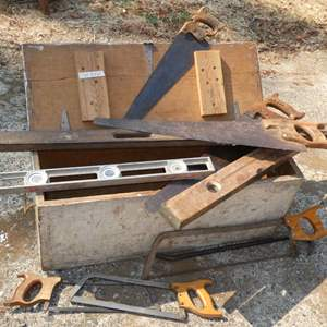 Lot # 220 - Old Wood Box And Some Tools