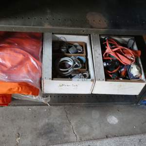 Lot # 235 - Orange Coveralls, Extension cords, A Box Of Keys And Locks