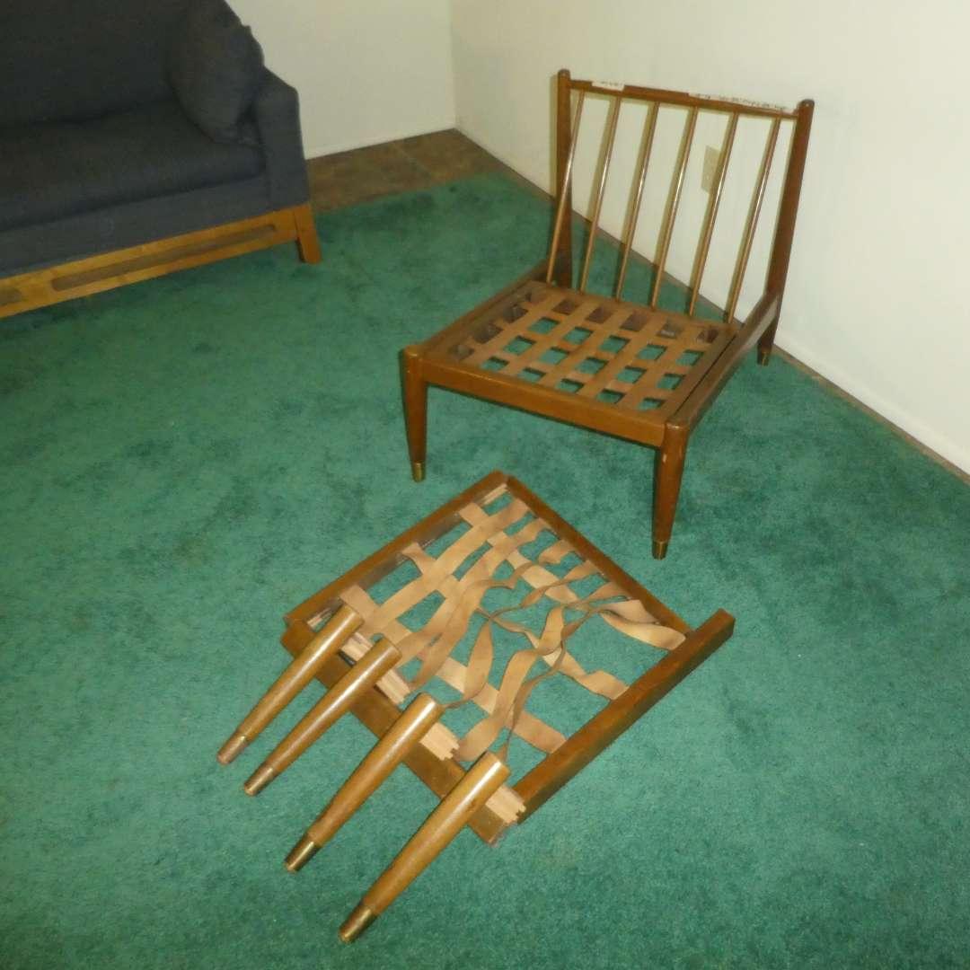 Lot # 152 - Danish Mid Century Modern Armless Lounge Chair w/ Ottoman - Made in Denmark  (main image)