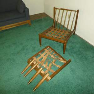 Lot # 152 - Danish Mid Century Modern Armless Lounge Chair w/ Ottoman - Made in Denmark