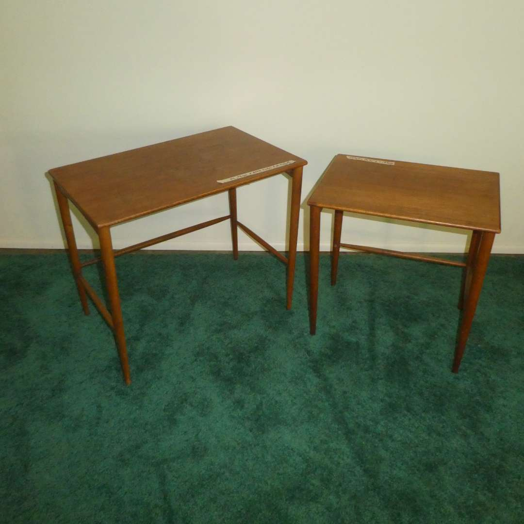 Lot # 154 - Two Vintage Mid Century Modern Side Tables Made in Sweden (Believed to Be 2 of 3 Nesting Tables)  (main image)