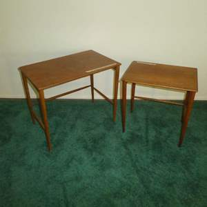 Lot # 154 - Two Vintage Mid Century Modern Side Tables Made in Sweden (Believed to Be 2 of 3 Nesting Tables)