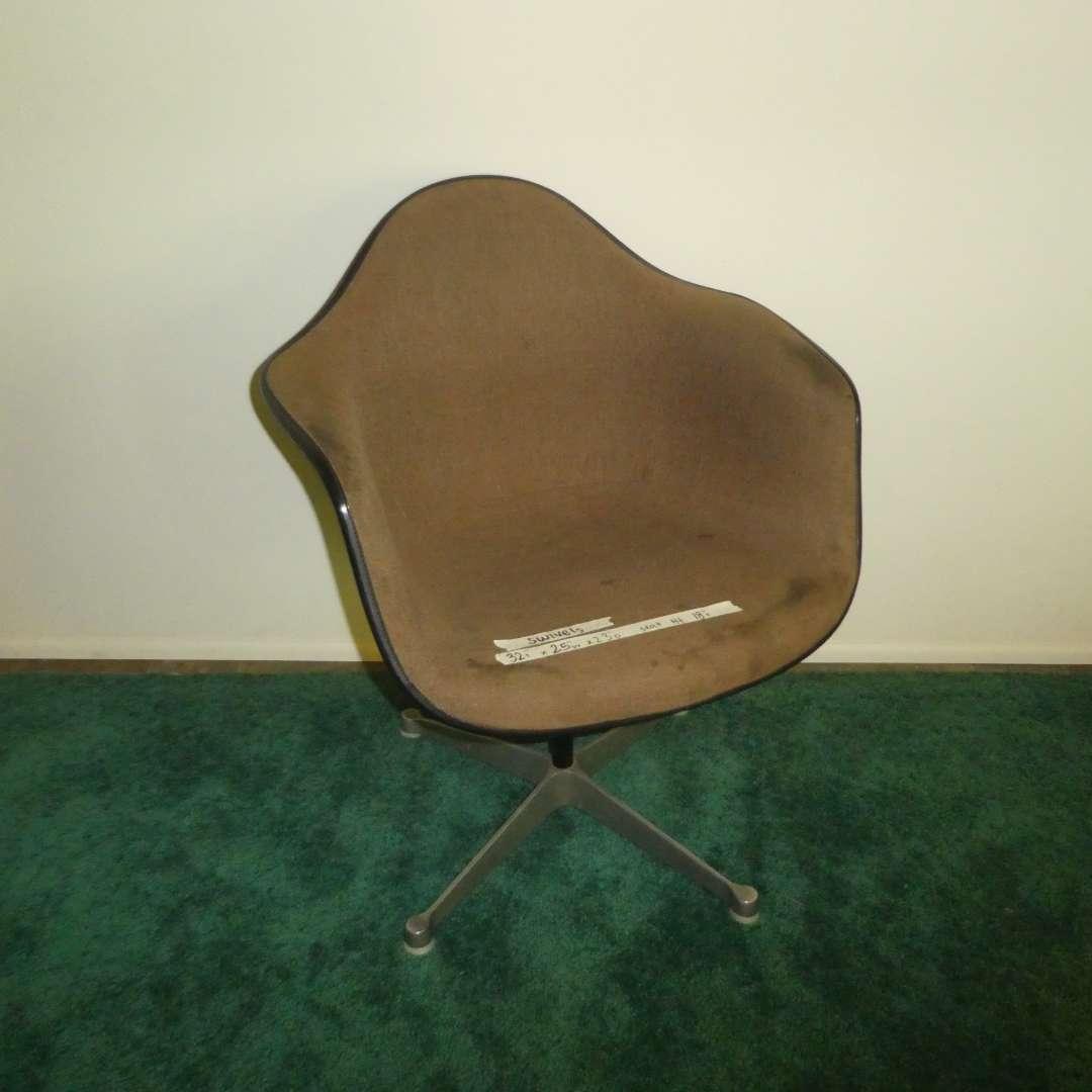 Lot # 155 - Herman Miller Fiberglass Shell Brown Upholstered Swivel Chair (Stationary) (main image)
