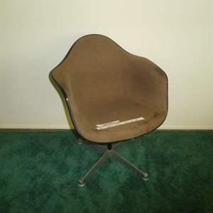 Lot # 155 - Herman Miller Fiberglass Shell Brown Upholstered Swivel Chair (Stationary)
