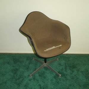 Lot # 156 - Herman Miller Fiberglass Shell Brown Upholstered Swivel Chair (Stationary)