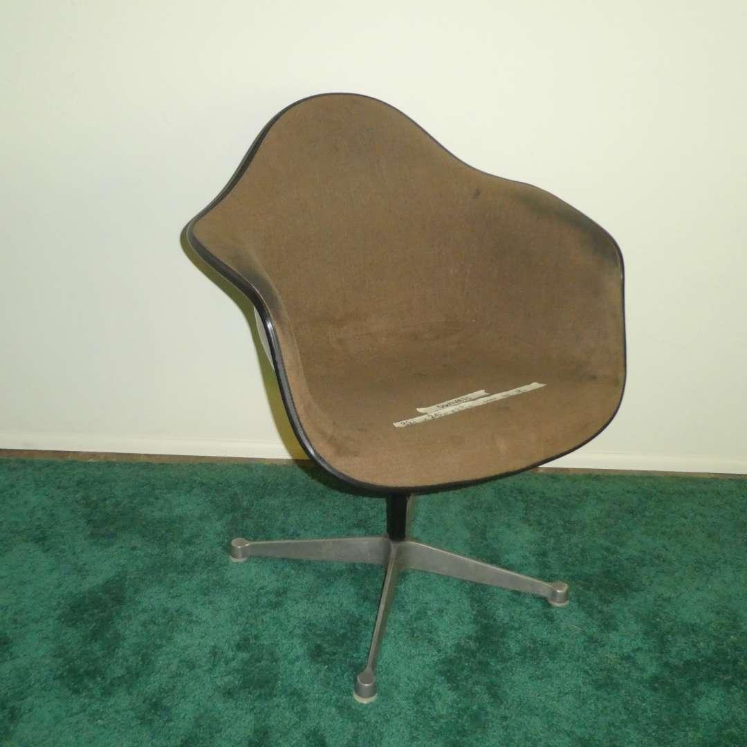 Lot # 157 - Herman Miller Fiberglass Shell Brown Upholstered Swivel Chair (Stationary)  (main image)