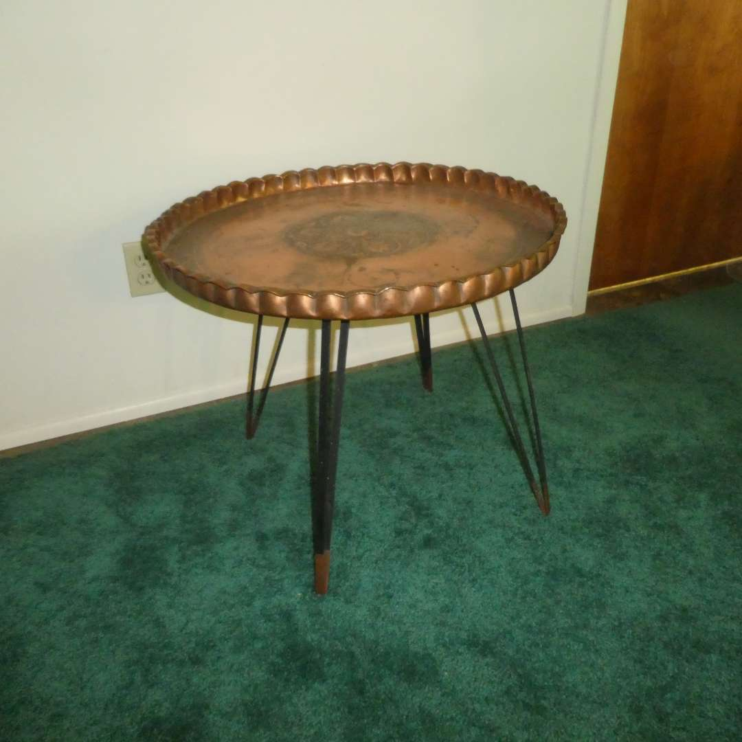 Lot # 161 - Unique Hand Hammered Copper Tray Table w/ Mid Century Style Folding Base (Hairpin Legs)  (main image)