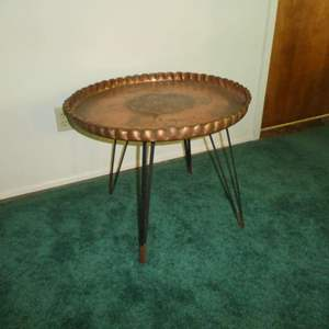 Lot # 161 - Unique Hand Hammered Copper Tray Table w/ Mid Century Style Folding Base (Hairpin Legs)