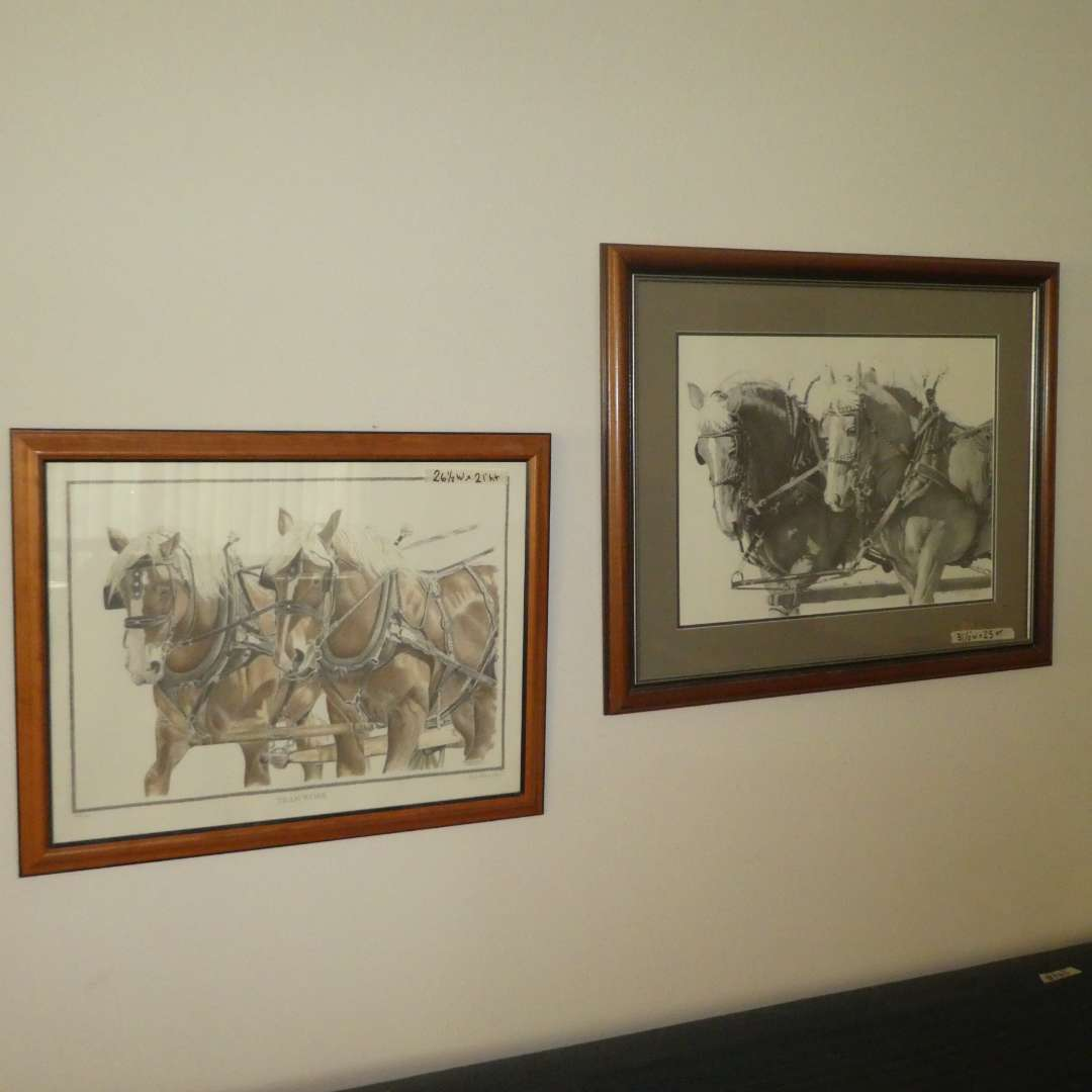 """Lot # 169 -  Two Horse Prints """" Team Work"""" & """" Beautiful Belgians"""" (One By Sheri Greves- Neilson) (main image)"""