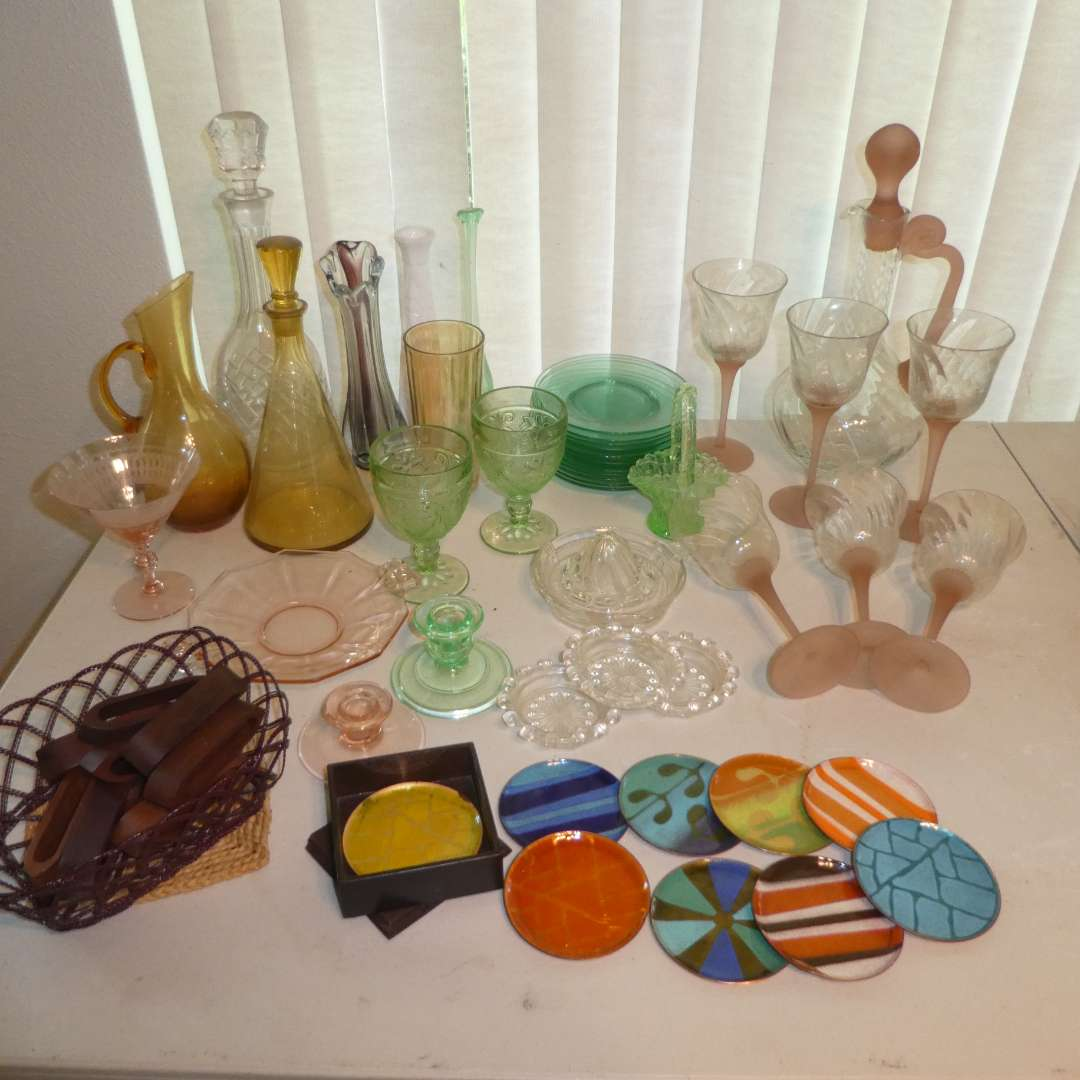 Lot # 171 -  Vintage Colored Glass Lot, Mid Century Modern Coasters, Misc Flatware, Wood Napkin Rings & More ! (main image)
