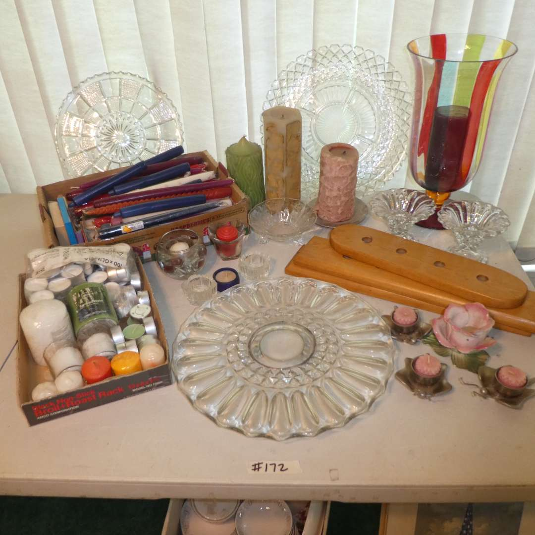 Lot # 172 - Assortment of Glass Severing Platers, Candle Sticks & Candle Holders (main image)