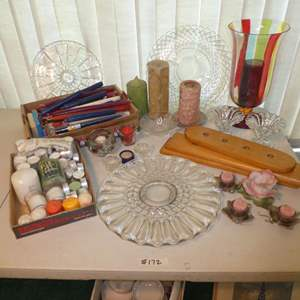 Lot # 172 - Assortment of Glass Severing Platers, Candle Sticks & Candle Holders