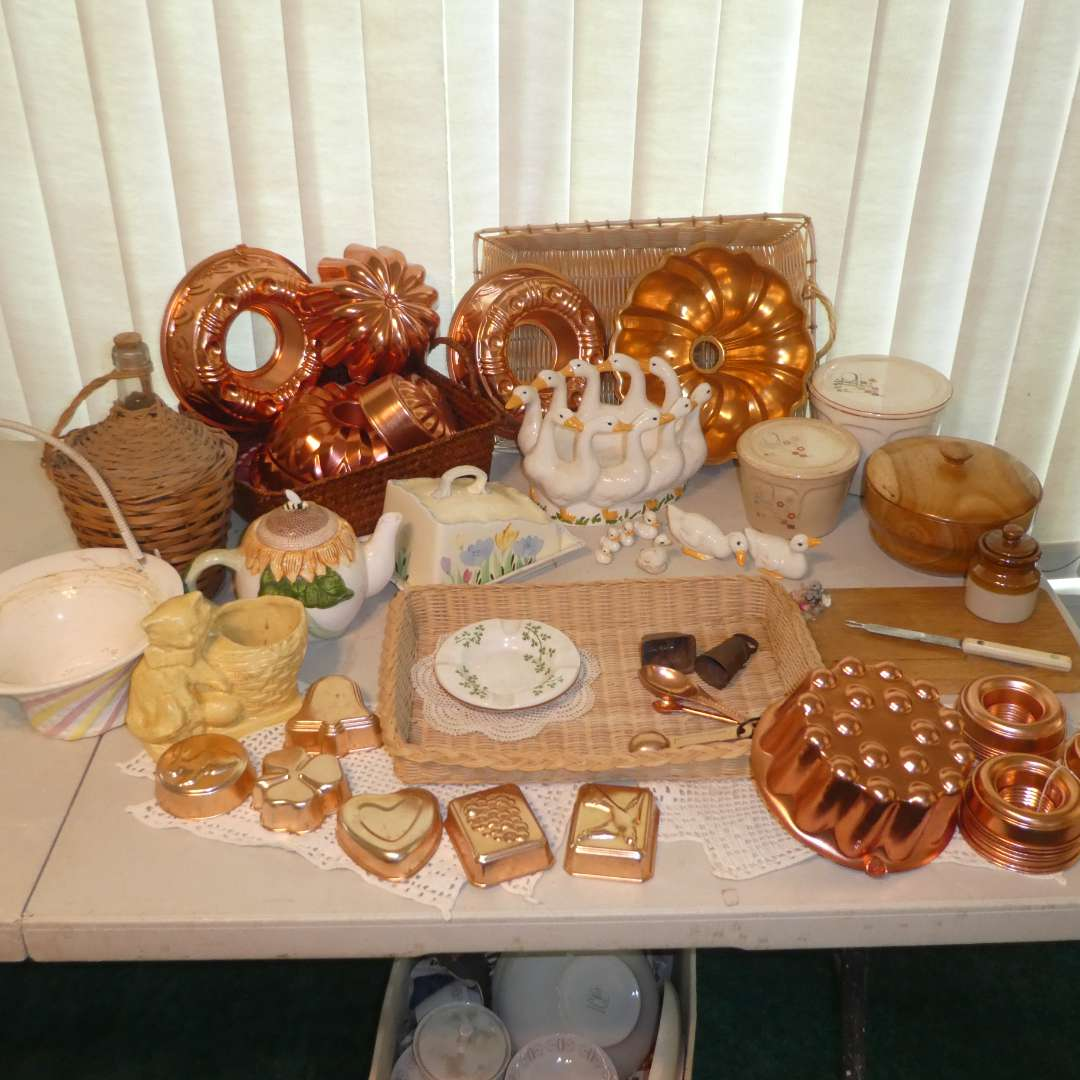 Lot # 173 - Vintage Variety Lot - Decorative Copper Jello Mold/ Bunt Cakes, Figurines and More (main image)