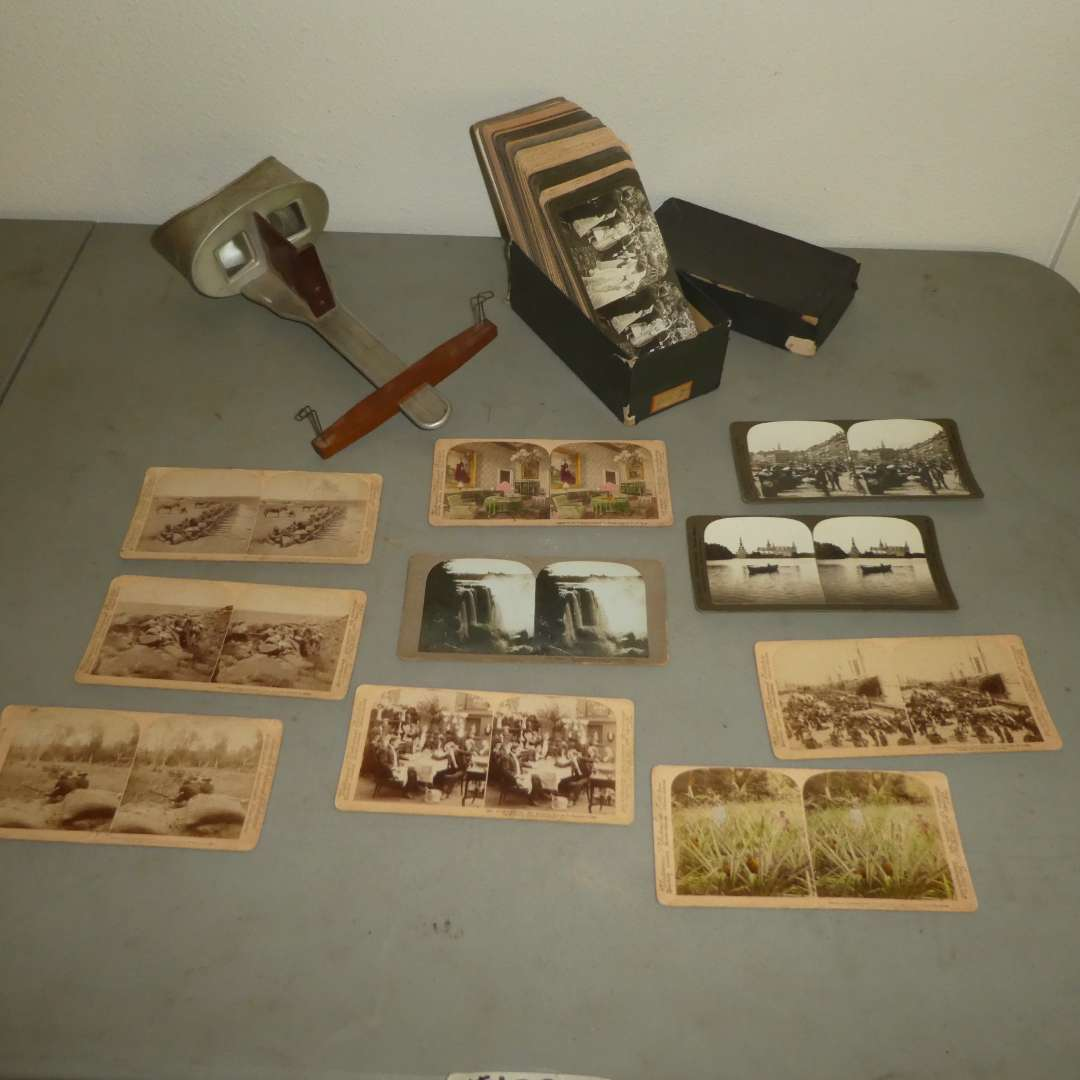 Lot # 179 - Antique/Vintage Stereoscope w/ Aprox. 70 Cards  (main image)
