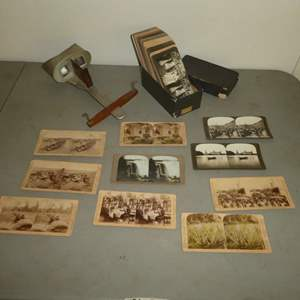 Lot # 179 - Antique/Vintage Stereoscope w/ Aprox. 70 Cards