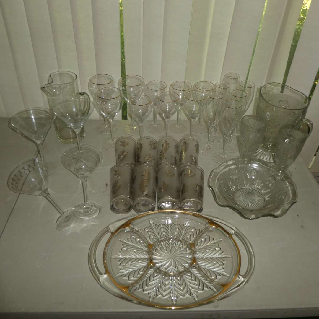 Lot # 183 - Gorgeous Vintage Assorted Glass Stemware, Cups, Pitchers & Severing Dish (main image)