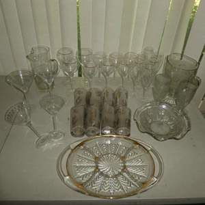 Lot # 183 - Gorgeous Vintage Assorted Glass Stemware, Cups, Pitchers & Severing Dish