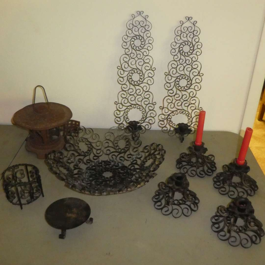 Lot # 184 - Ornate Heavy Metal Candle Sconces, Candle Holders and Decorative Bowl  (main image)