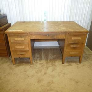 Lot # 186 -  Large Solid Oak Desk (Need Some TLC)