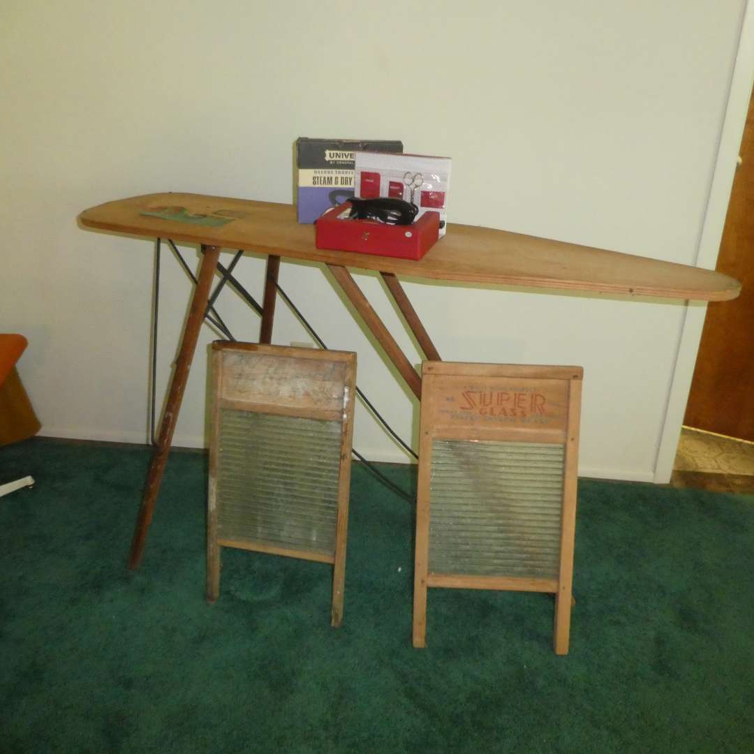 Lot # 188 - Vintage Ironing Board, Two Glass Washboards & Travel size Iron  (main image)