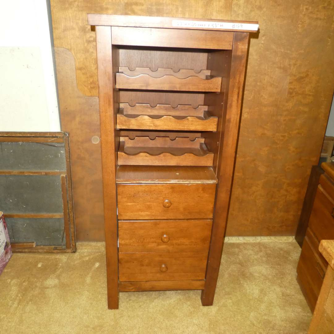 Lot # 189 - Wooden Wine Rack w/ Drawers  (main image)