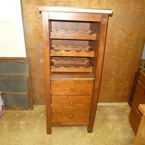 Lot # 189 - Wooden Wine Rack w/ Drawers