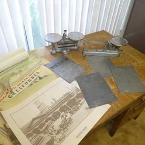 Lot # 192 - Vintage Beam Scales, Antique/Vintage Metal Sheet Music Engraving Printing Plates & Mis Vintage Prints