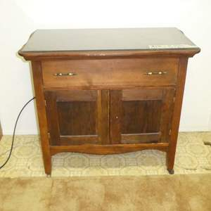 Lot # 193 - Cute Vintage Storage Cabinet On Wooden Casters (Dovetail Drawer)