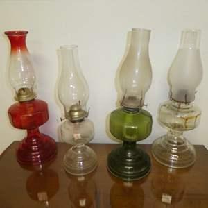 Lot # 194 -  Four Vintage Oil Kerosene Lamps
