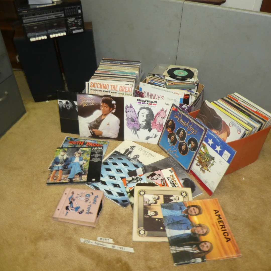 Lot # 197 - 200 + Records, 40 45's, Record Player, Speakers & More! (main image)