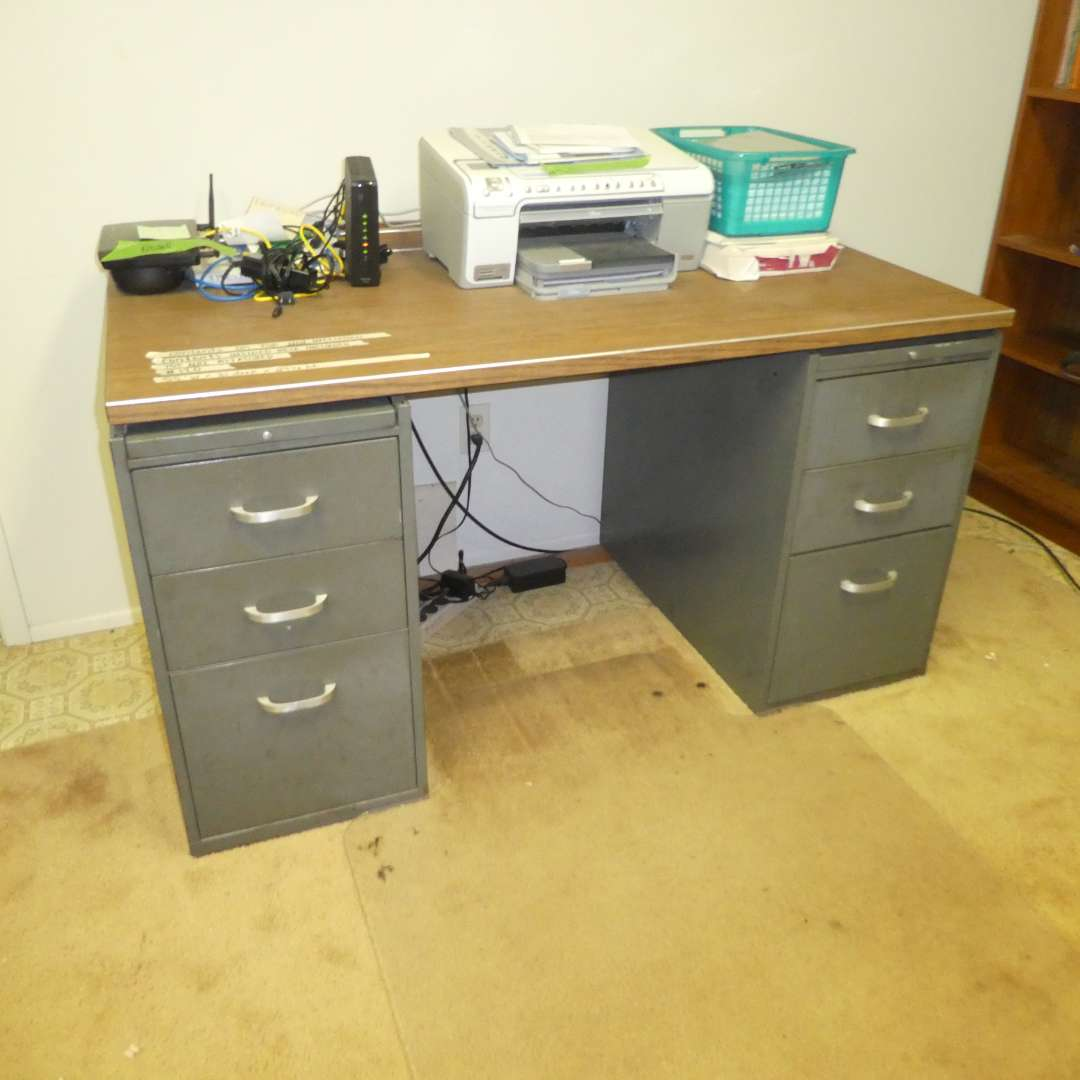 Lot # 120 - Heavy Duty Metal Desk Drawers Full of Misc Office Supplies (Contents on Top of Desk Not Included) (main image)