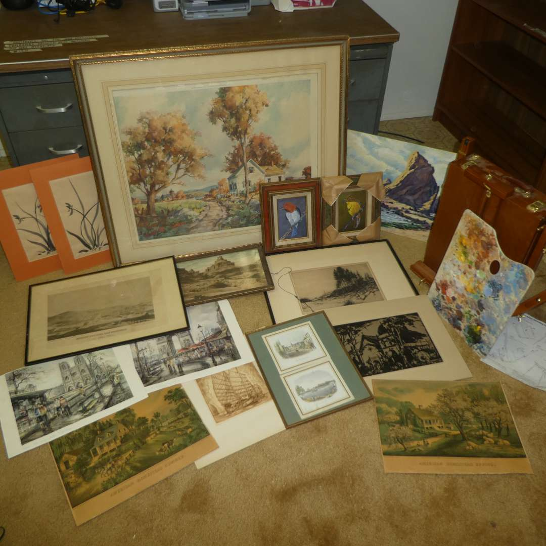 Lot # 124 -  Large Lot of Assorted Art Work w/ Easel  (main image)