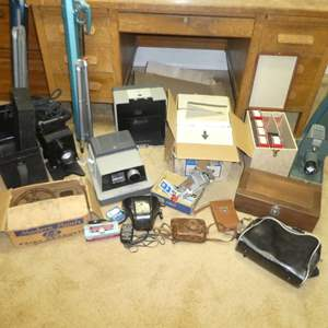 Lot # 125 -  Variety of Vintage Cameras, Projectors, Screens and More