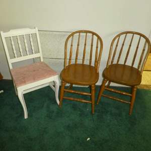 Lot # 126 -  Three Vintage Chairs (2 Oak) and Small Folding Table (Looks to Be Cut Down to Be Kids Table)