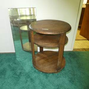 Lot # 127 - Vintage Round Wood Side Table w/ Beveled Mirror