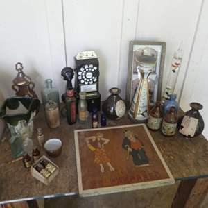 Lot # 131 -  Assorted Vintage Bottle, Decorative Decanters, Adorable Cartoon Wood Carving  & More